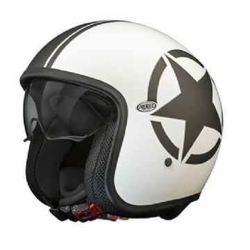 Premier Vintage Star 8 Open Faced Carbon Composite Motorcycle Bike Helmet White
